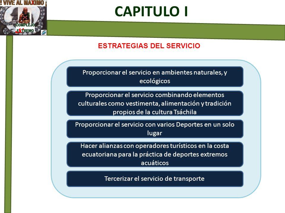 ESTRATEGIAS DEL SERVICIO CAPITULO I Proporcionar el servicio en ambientes naturales, y ecológicos Proporcionar el servicio combinando elementos cultur