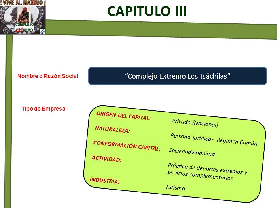 Complejo Extremo Los Tsáchilas ORIGEN DEL CAPITAL: Privado (Nacional) NATURALEZA: Persona Jurídica – Régimen Común CONFORMACIÓN CAPITAL: Sociedad Anón