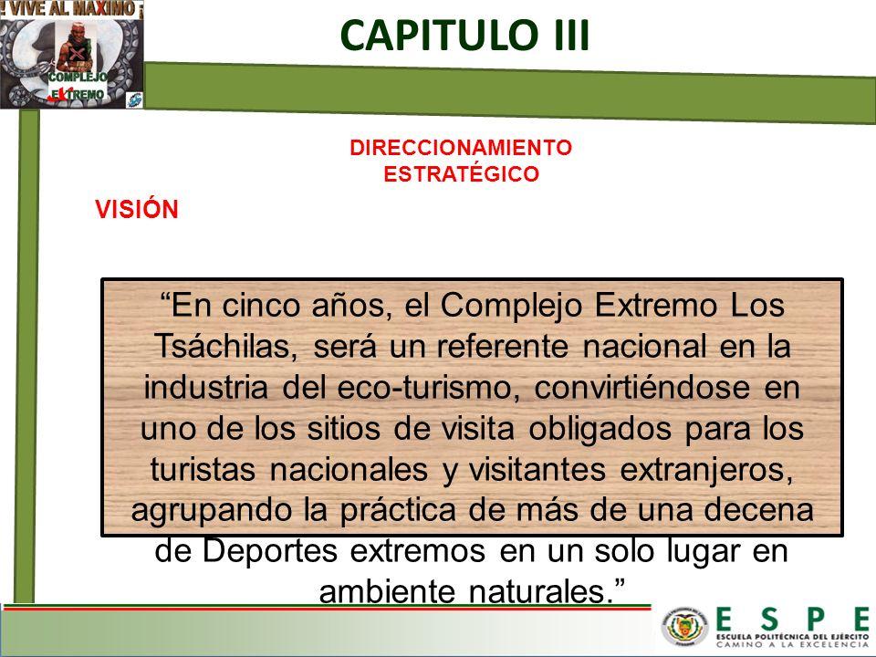 CAPITULO III DIRECCIONAMIENTO ESTRATÉGICO VISIÓN En cinco años, el Complejo Extremo Los Tsáchilas, será un referente nacional en la industria del eco-