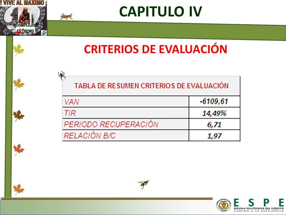 CAPITULO IV CRITERIOS DE EVALUACIÓN