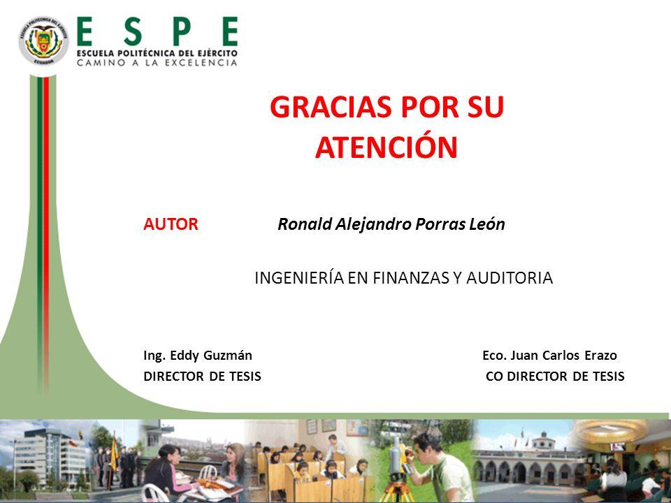 AUTORRonald Alejandro Porras León INGENIERÍA EN FINANZAS Y AUDITORIA Ing. Eddy Guzmán Eco. Juan Carlos Erazo DIRECTOR DE TESIS CO DIRECTOR DE TESIS GR
