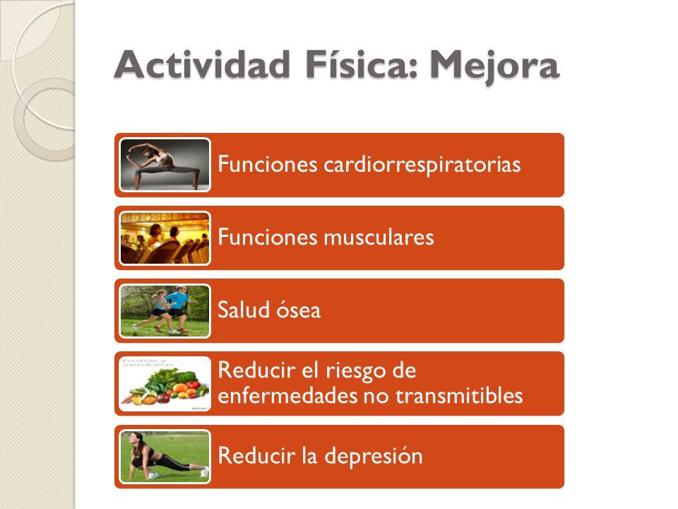 Actividad Física: Mejora Funciones cardiorrespiratorias Funciones musculares Salud ósea Reducir el riesgo de enfermedades no transmitibles Reducir la