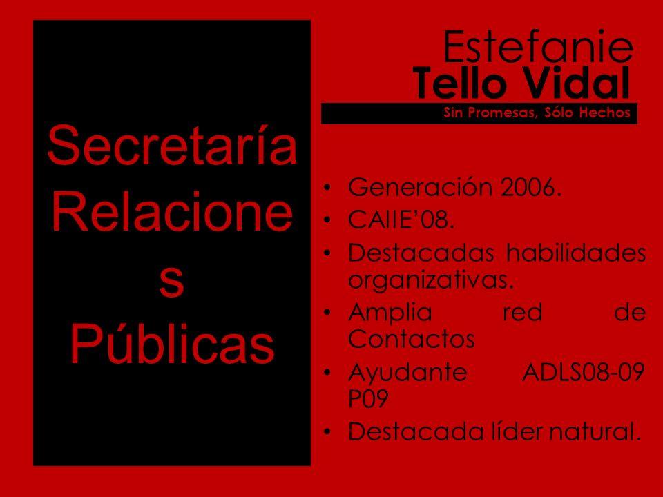 Secretaría Relacione s Públicas Generación 2008. Roque Vergara Sin Promesas, Sólo Hechos