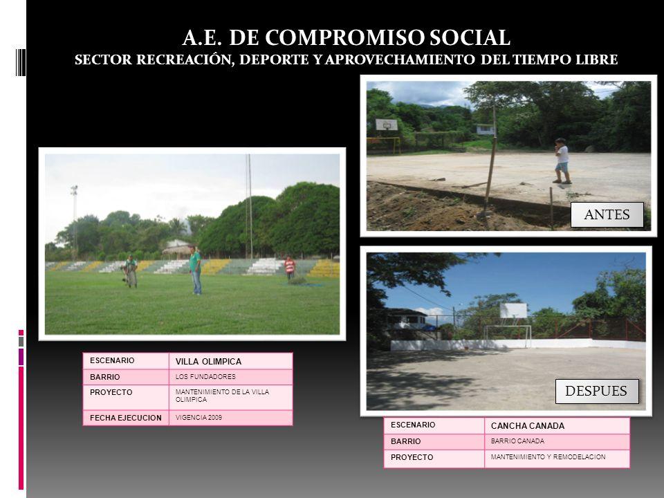 A.E. DE COMPROMISO SOCIAL SECTOR RECREACIÓN, DEPORTE Y APROVECHAMIENTO DEL TIEMPO LIBRE ESCENARIO VILLA OLIMPICA BARRIO LOS FUNDADORES PROYECTO MANTEN