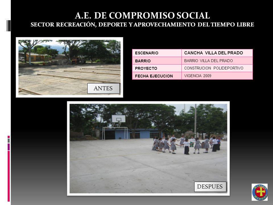 A.E. DE COMPROMISO SOCIAL SECTOR RECREACIÓN, DEPORTE Y APROVECHAMIENTO DEL TIEMPO LIBRE ESCENARIO CANCHA VILLA DEL PRADO BARRIO BARRIO VILLA DEL PRADO