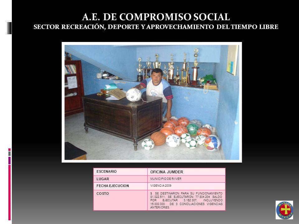 A.E. DE COMPROMISO SOCIAL SECTOR RECREACIÓN, DEPORTE Y APROVECHAMIENTO DEL TIEMPO LIBRE ESCENARIO OFICINA JUMDER LUGAR MUNICIPIO DE RIIVER FECHA EJECU