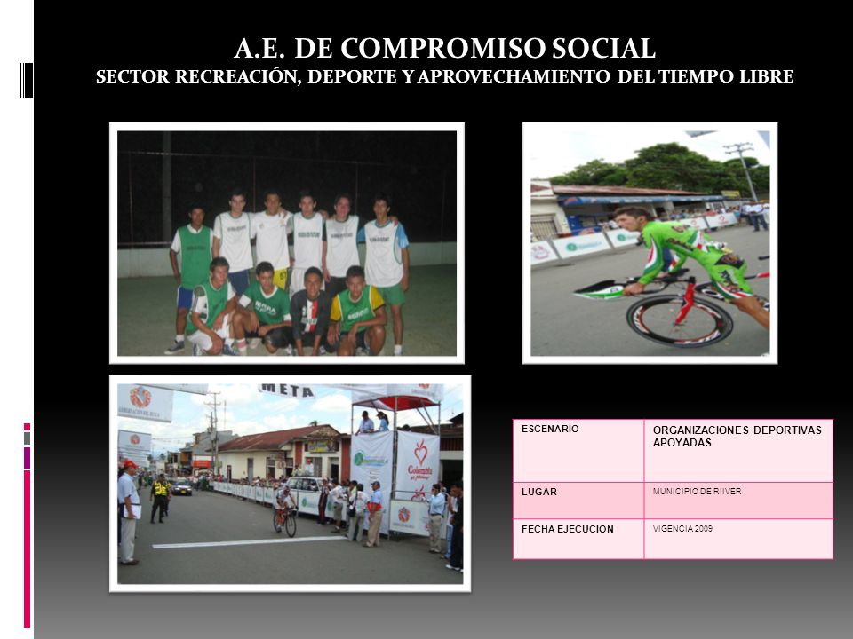 A.E. DE COMPROMISO SOCIAL SECTOR RECREACIÓN, DEPORTE Y APROVECHAMIENTO DEL TIEMPO LIBRE ESCENARIO ORGANIZACIONES DEPORTIVAS APOYADAS LUGAR MUNICIPIO D