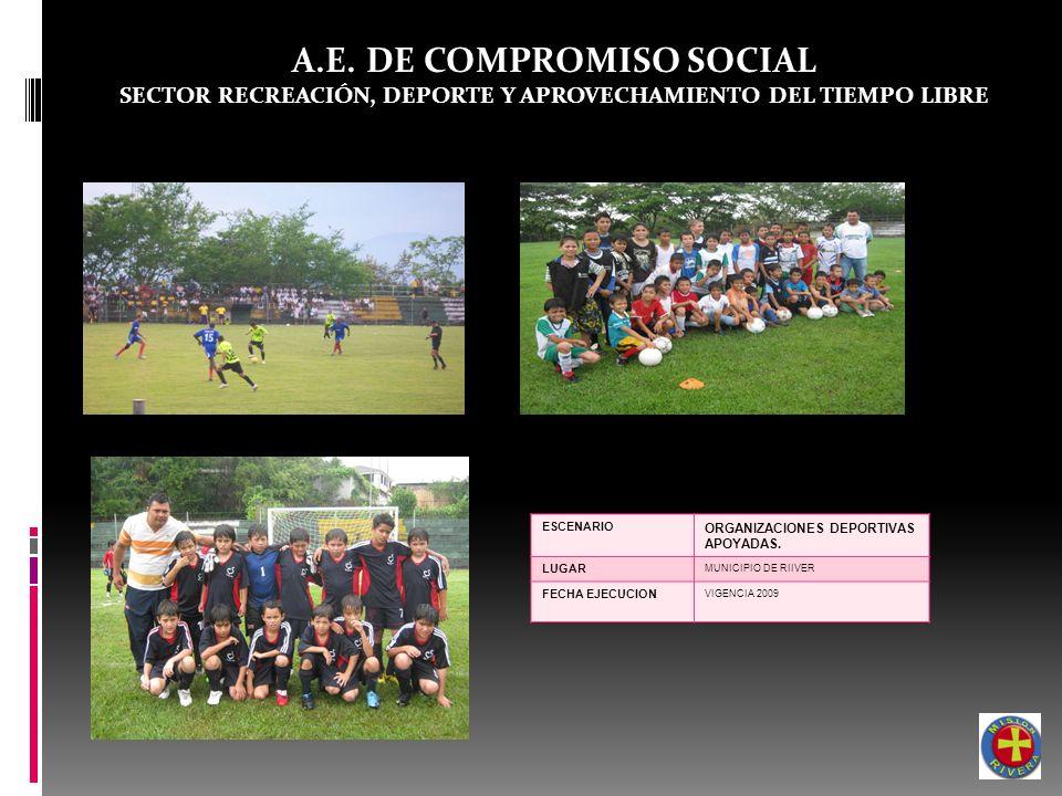 A.E. DE COMPROMISO SOCIAL SECTOR RECREACIÓN, DEPORTE Y APROVECHAMIENTO DEL TIEMPO LIBRE ESCENARIO ORGANIZACIONES DEPORTIVAS APOYADAS. LUGAR MUNICIPIO