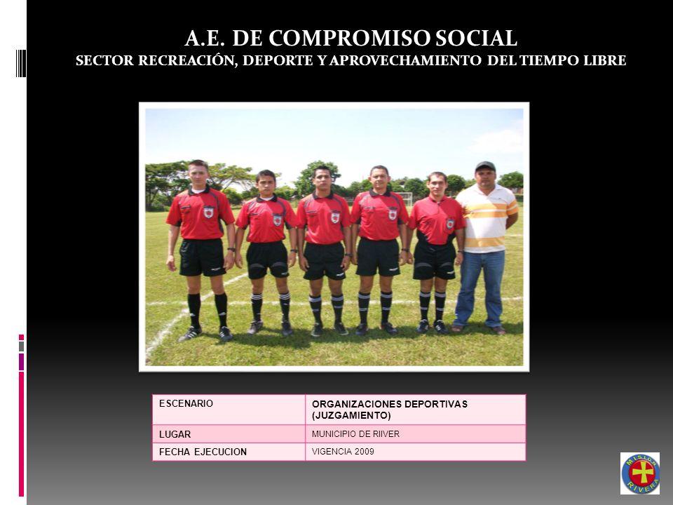 A.E. DE COMPROMISO SOCIAL SECTOR RECREACIÓN, DEPORTE Y APROVECHAMIENTO DEL TIEMPO LIBRE ESCENARIO ORGANIZACIONES DEPORTIVAS (JUZGAMIENTO) LUGAR MUNICI