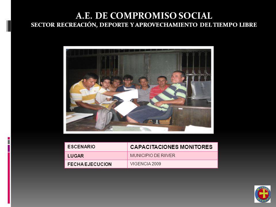 A.E. DE COMPROMISO SOCIAL SECTOR RECREACIÓN, DEPORTE Y APROVECHAMIENTO DEL TIEMPO LIBRE ESCENARIO CAPACITACIONES MONITORES LUGAR MUNICIPIO DE RIIVER F