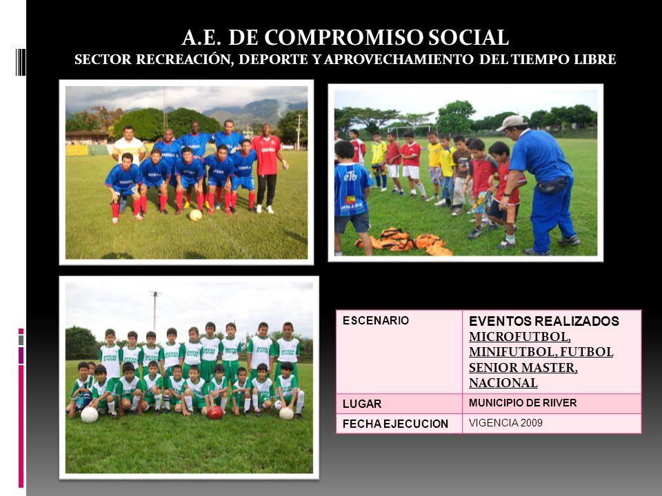 A.E. DE COMPROMISO SOCIAL SECTOR RECREACIÓN, DEPORTE Y APROVECHAMIENTO DEL TIEMPO LIBRE ESCENARIO EVENTOS REALIZADOS MICROFUTBOL, MINIFUTBOL, FUTBOL S