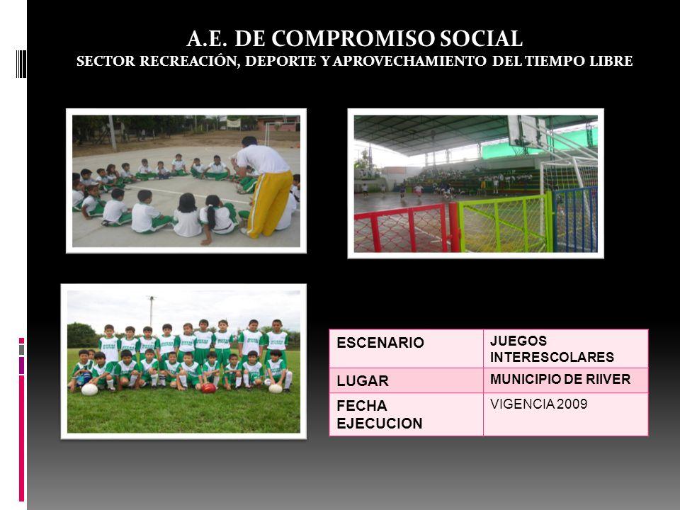 A.E. DE COMPROMISO SOCIAL SECTOR RECREACIÓN, DEPORTE Y APROVECHAMIENTO DEL TIEMPO LIBRE ESCENARIO JUEGOS INTERESCOLARES LUGAR MUNICIPIO DE RIIVER FECH
