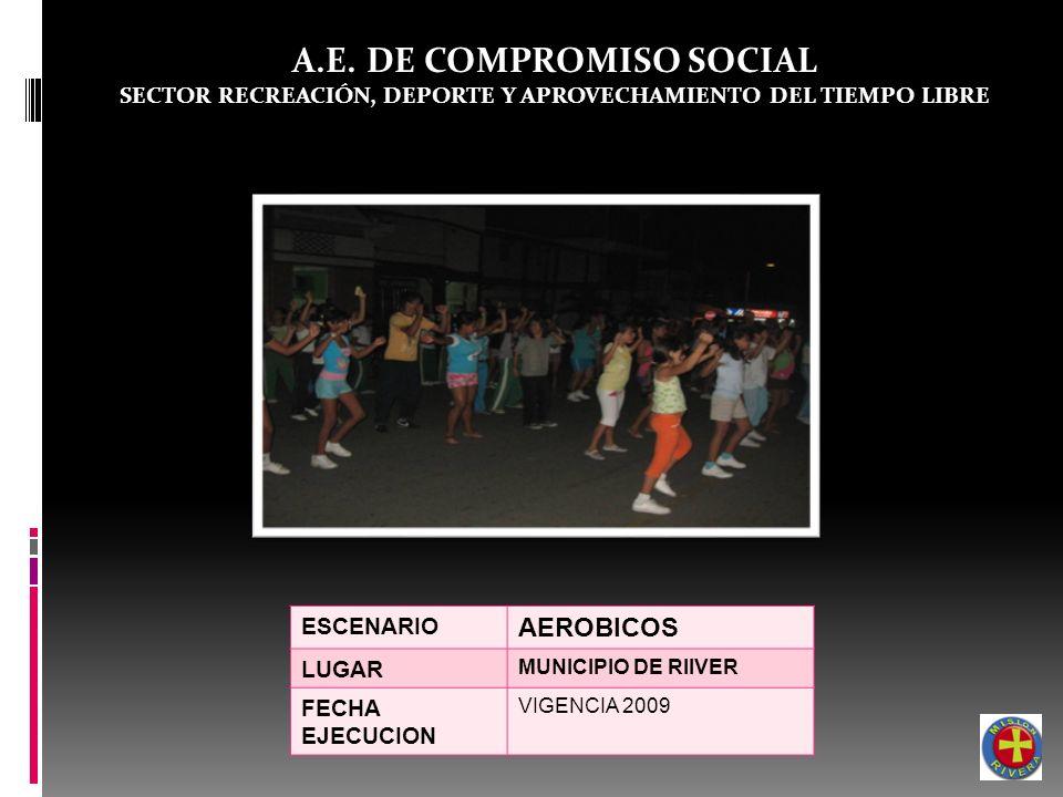 A.E. DE COMPROMISO SOCIAL SECTOR RECREACIÓN, DEPORTE Y APROVECHAMIENTO DEL TIEMPO LIBRE ESCENARIO AEROBICOS LUGAR MUNICIPIO DE RIIVER FECHA EJECUCION