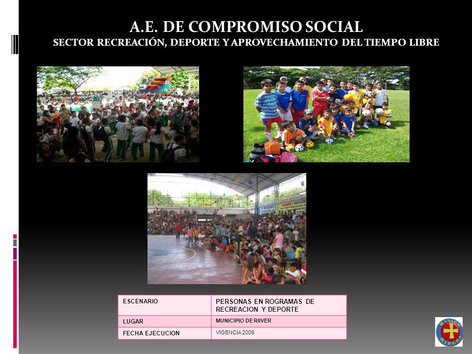 A.E. DE COMPROMISO SOCIAL SECTOR RECREACIÓN, DEPORTE Y APROVECHAMIENTO DEL TIEMPO LIBRE ESCENARIO PERSONAS EN ROGRAMAS DE RECREACION Y DEPORTE LUGAR M