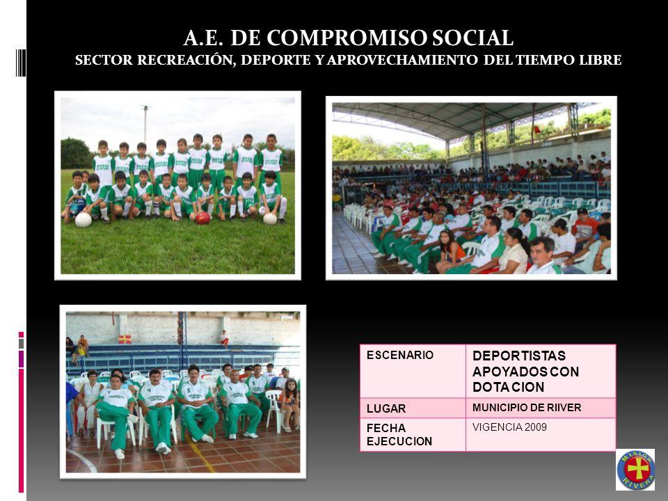 A.E. DE COMPROMISO SOCIAL SECTOR RECREACIÓN, DEPORTE Y APROVECHAMIENTO DEL TIEMPO LIBRE ESCENARIO DEPORTISTAS APOYADOS CON DOTA CION LUGAR MUNICIPIO D