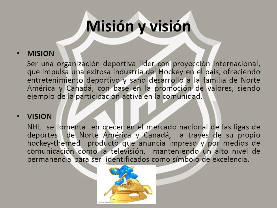 Misión y visión MISION Ser una organización deportiva líder con proyección internacional, que impulsa una exitosa industria del Hockey en el país, ofr