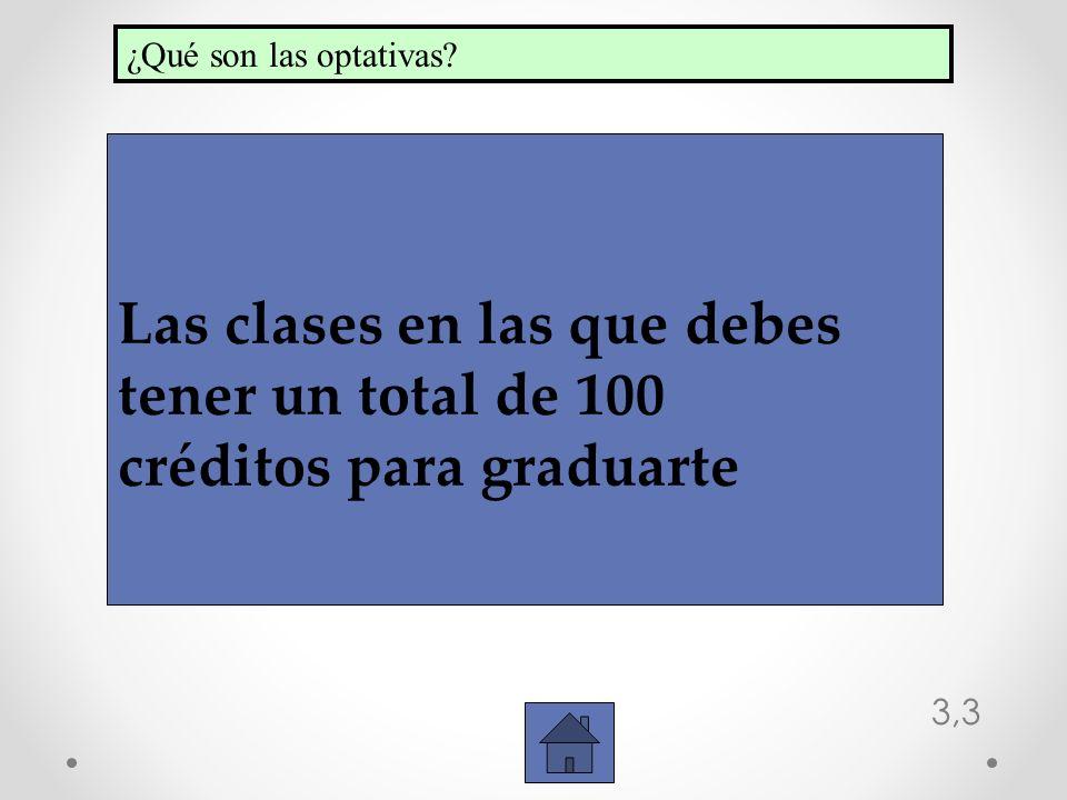 3,3 Las clases en las que debes tener un total de 100 créditos para graduarte ¿Qué son las optativas?