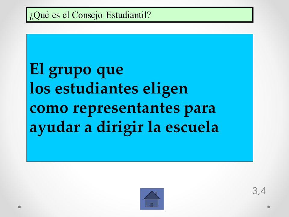 3,4 El grupo que los estudiantes eligen como representantes para ayudar a dirigir la escuela ¿Qué es el Consejo Estudiantil?