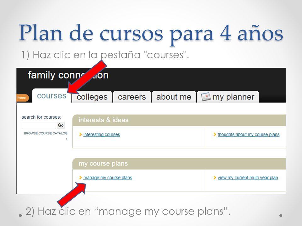 Plan de cursos para 4 años 1) Haz clic en la pestaña