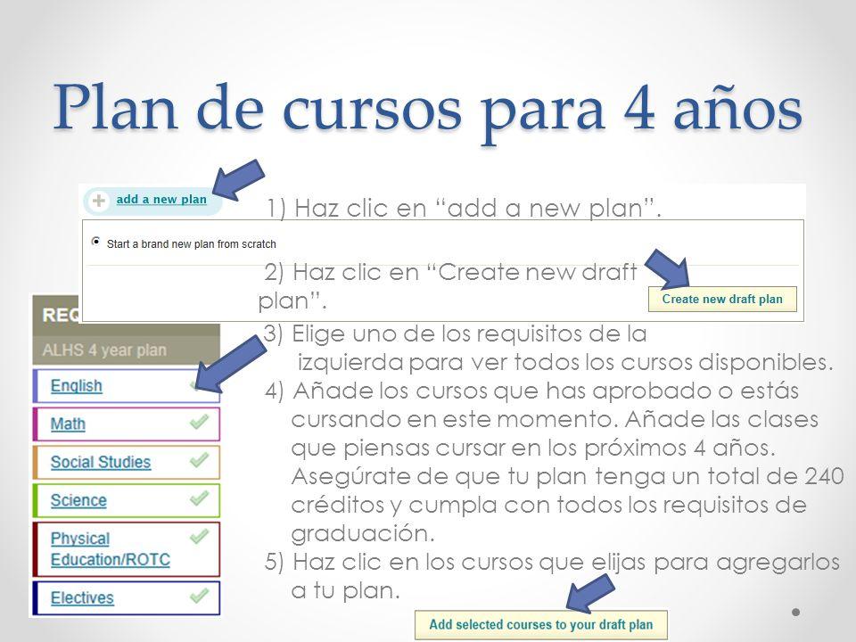 Plan de cursos para 4 años 3) Elige uno de los requisitos de la izquierda para ver todos los cursos disponibles. 4) Añade los cursos que has aprobado