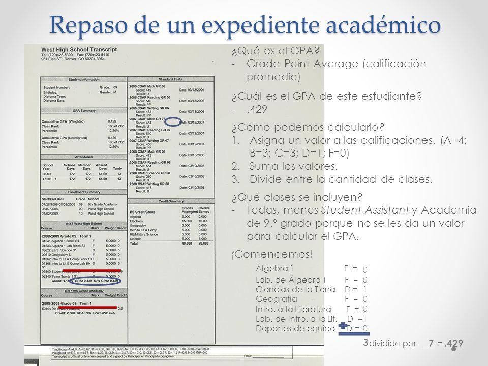 Repaso de un expediente académico ¿Qué es el GPA? -Grade Point Average (calificación promedio) ¿Cuál es el GPA de este estudiante? -.429 ¿Cómo podemos