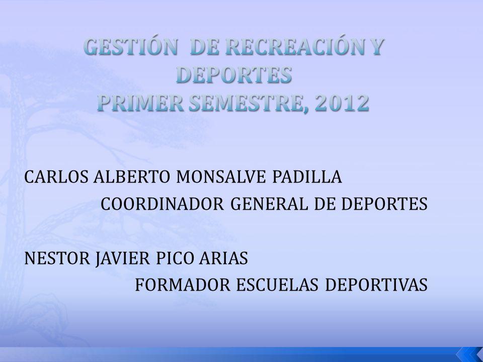 CARLOS ALBERTO MONSALVE PADILLA COORDINADOR GENERAL DE DEPORTES NESTOR JAVIER PICO ARIAS FORMADOR ESCUELAS DEPORTIVAS