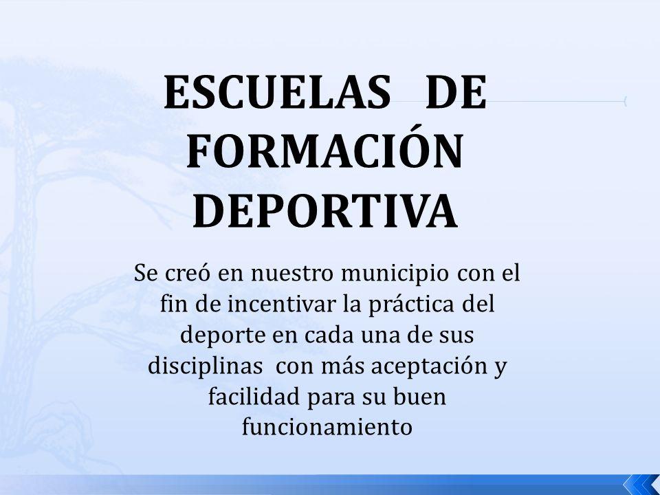 ESCUELAS DE FORMACIÓN DEPORTIVA Se creó en nuestro municipio con el fin de incentivar la práctica del deporte en cada una de sus disciplinas con más aceptación y facilidad para su buen funcionamiento
