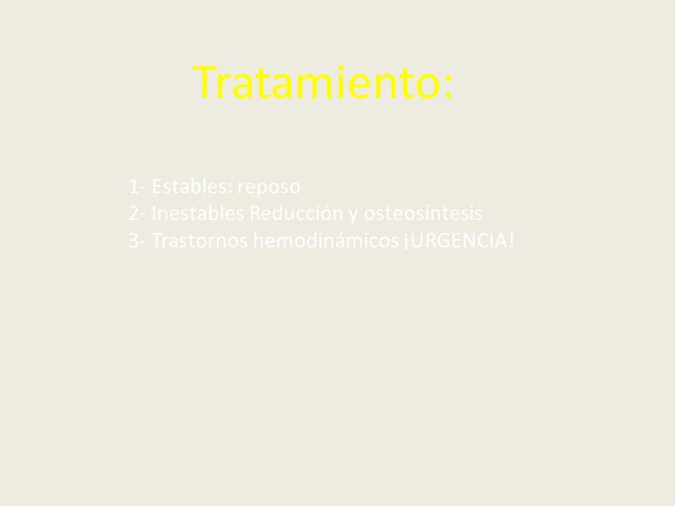 Tratamiento: 1- Estables: reposo 2- Inestables Reducción y osteosíntesis 3- Trastornos hemodinámicos ¡URGENCIA!