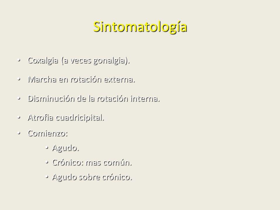 Sintomatología Coxalgia (a veces gonalgia). Coxalgia (a veces gonalgia). Marcha en rotación externa. Marcha en rotación externa. Disminución de la rot