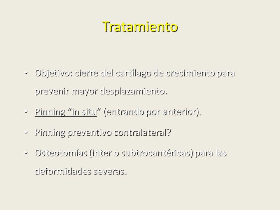 Tratamiento Objetivo: cierre del cartílago de crecimiento para prevenir mayor desplazamiento. Objetivo: cierre del cartílago de crecimiento para preve