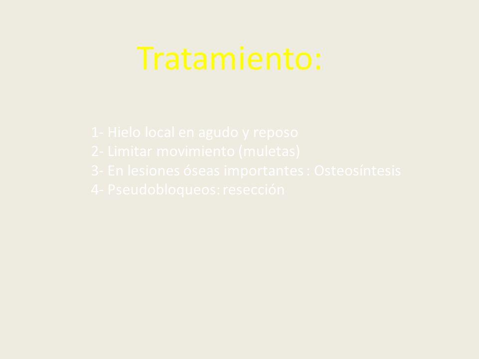Tratamiento: 1- Hielo local en agudo y reposo 2- Limitar movimiento (muletas) 3- En lesiones óseas importantes : Osteosíntesis 4- Pseudobloqueos: rese