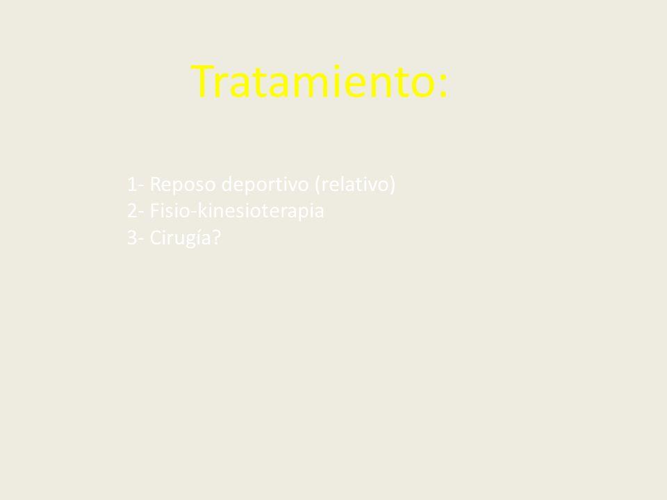 Tratamiento: 1- Reposo deportivo (relativo) 2- Fisio-kinesioterapia 3- Cirugía?