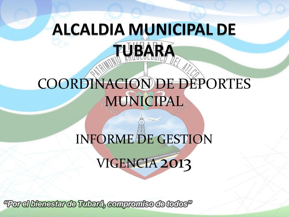 COORDINACION DE DEPORTES MUNICIPAL INFORME DE GESTION VIGENCIA 2013