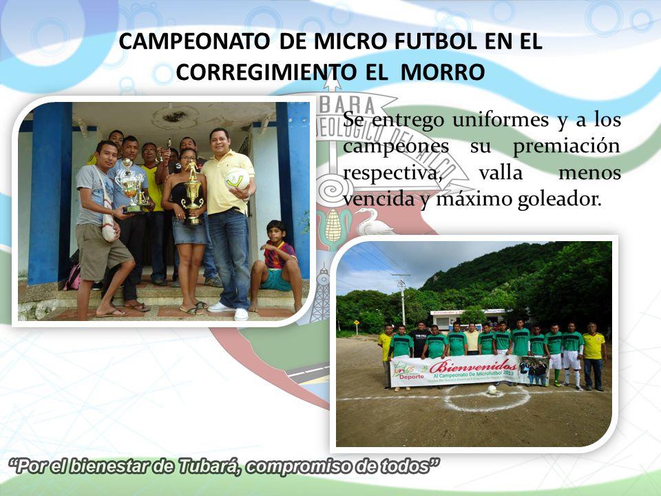 CAMPEONATO DE MICRO FUTBOL EN EL CORREGIMIENTO EL MORRO Se entrego uniformes y a los campeones su premiación respectiva, valla menos vencida y máximo goleador.