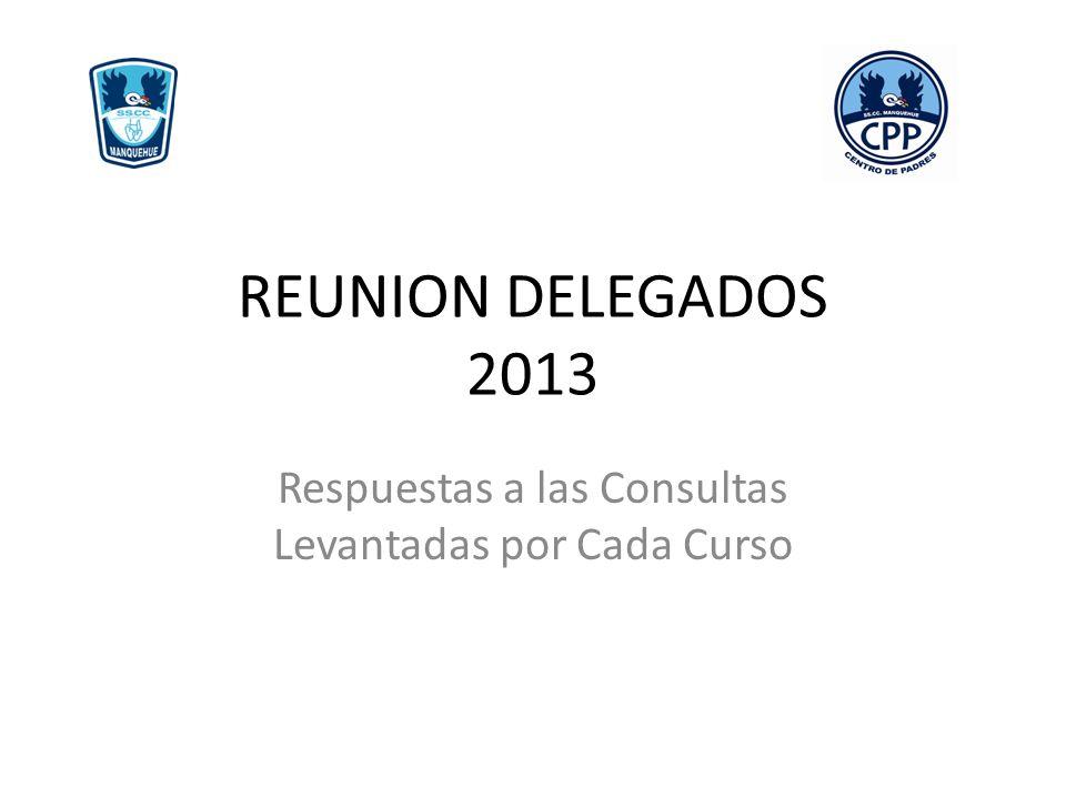 REUNION DELEGADOS 2013 Respuestas a las Consultas Levantadas por Cada Curso