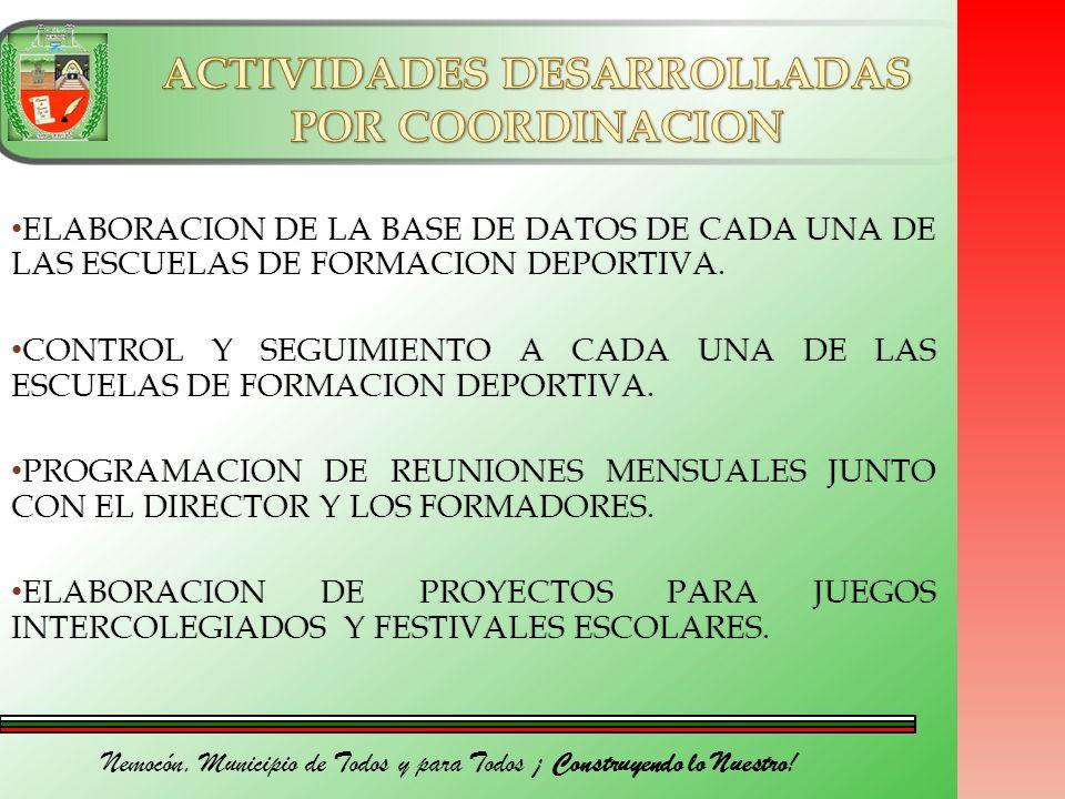 Nemocón, Municipio de Todos y para Todos ¡ Construyendo lo Nuestro! ELABORACION DE LA BASE DE DATOS DE CADA UNA DE LAS ESCUELAS DE FORMACION DEPORTIVA