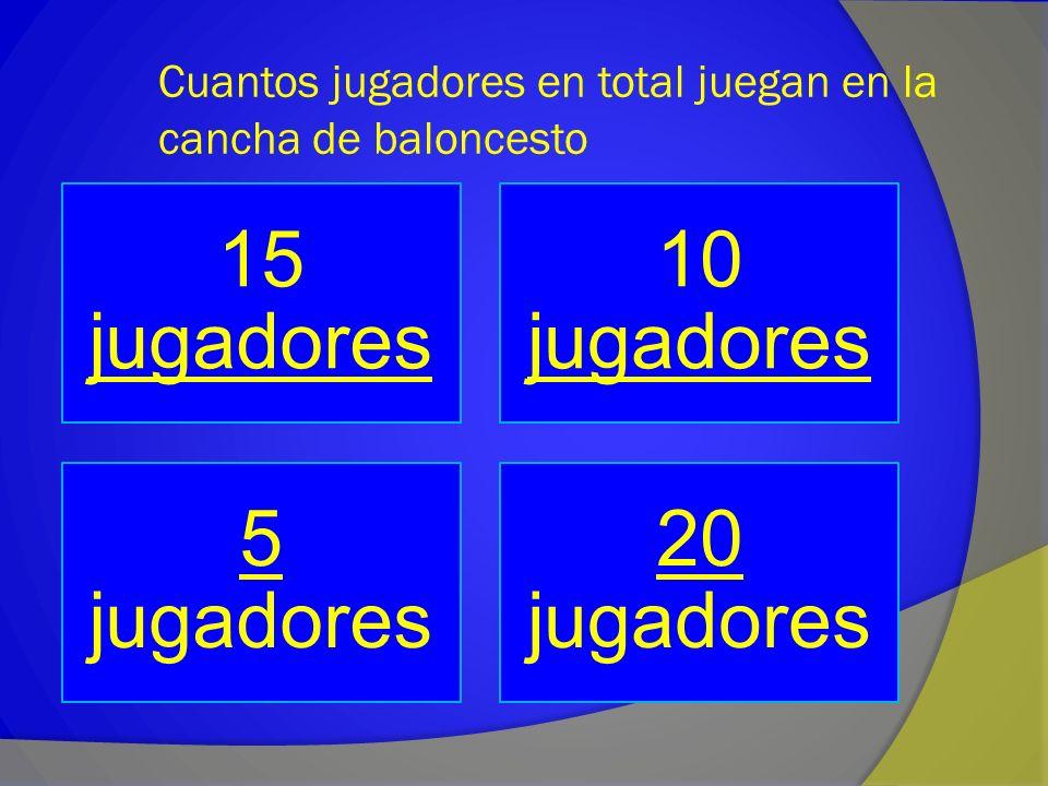 Cuantos jugadores en total juegan en la cancha de baloncesto 15 jugadores jugadores 10 jugadores jugadores 5 5 jugadores 20 20 jugadores
