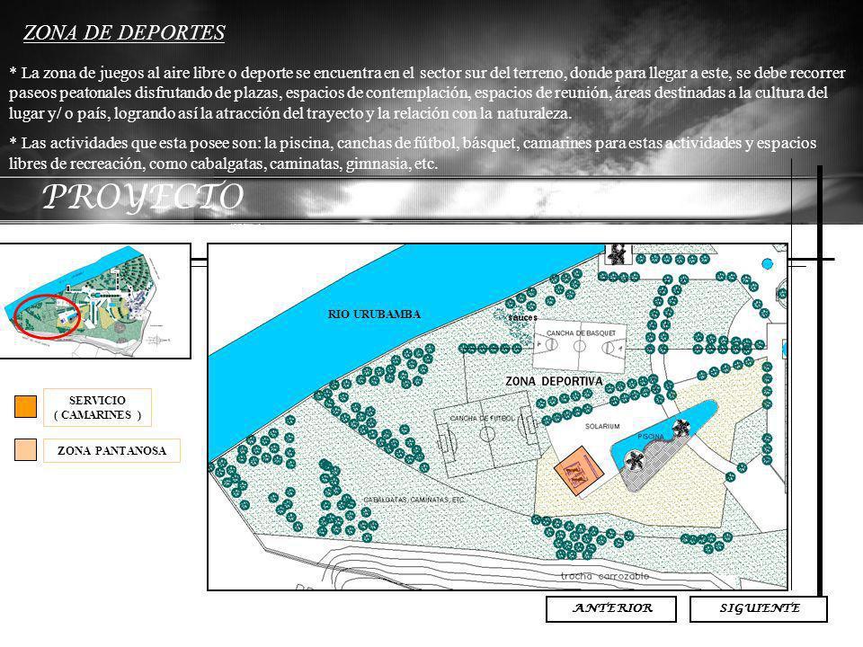 PROYECTO ZONA DE DEPORTES * La zona de juegos al aire libre o deporte se encuentra en el sector sur del terreno, donde para llegar a este, se debe rec