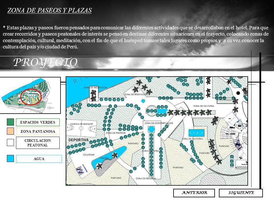 PROYECTO ZONA DE PASEOS Y PLAZAS * Estas plazas y paseos fueron pensados para comunicar las diferentes actividades que se desarrollaban en el hotel. P