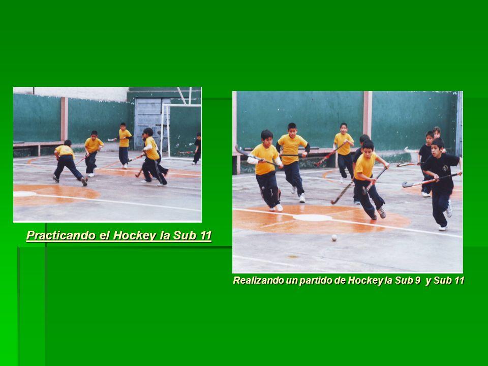 Practicando el Hockey la Sub 11 Realizando un partido de Hockey la Sub 9 y Sub 11 Realizando un partido de Hockey la Sub 9 y Sub 11
