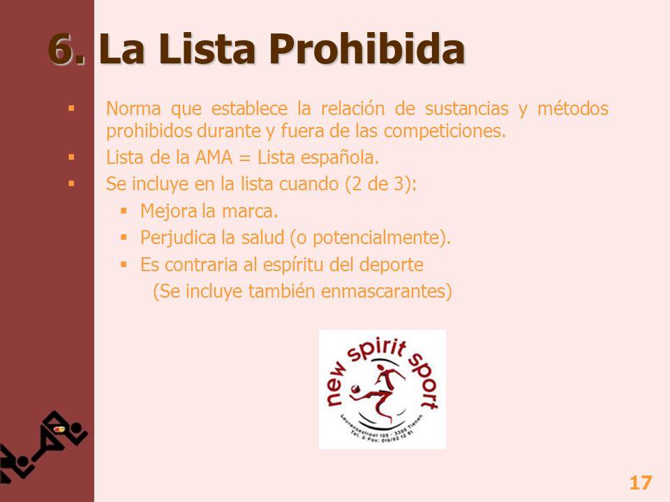 17 6. La Lista Prohibida Norma que establece la relación de sustancias y métodos prohibidos durante y fuera de las competiciones. Lista de la AMA = Li