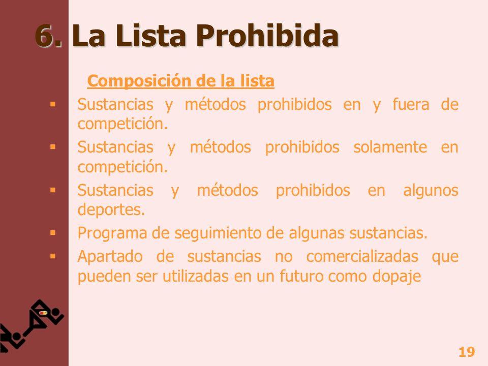 19 6. La Lista Prohibida Composición de la lista Sustancias y métodos prohibidos en y fuera de competición. Sustancias y métodos prohibidos solamente