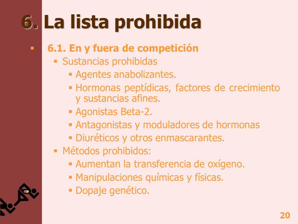 20 6. La lista prohibida 6.1. En y fuera de competición Sustancias prohibidas Agentes anabolizantes. Hormonas peptídicas, factores de crecimiento y su