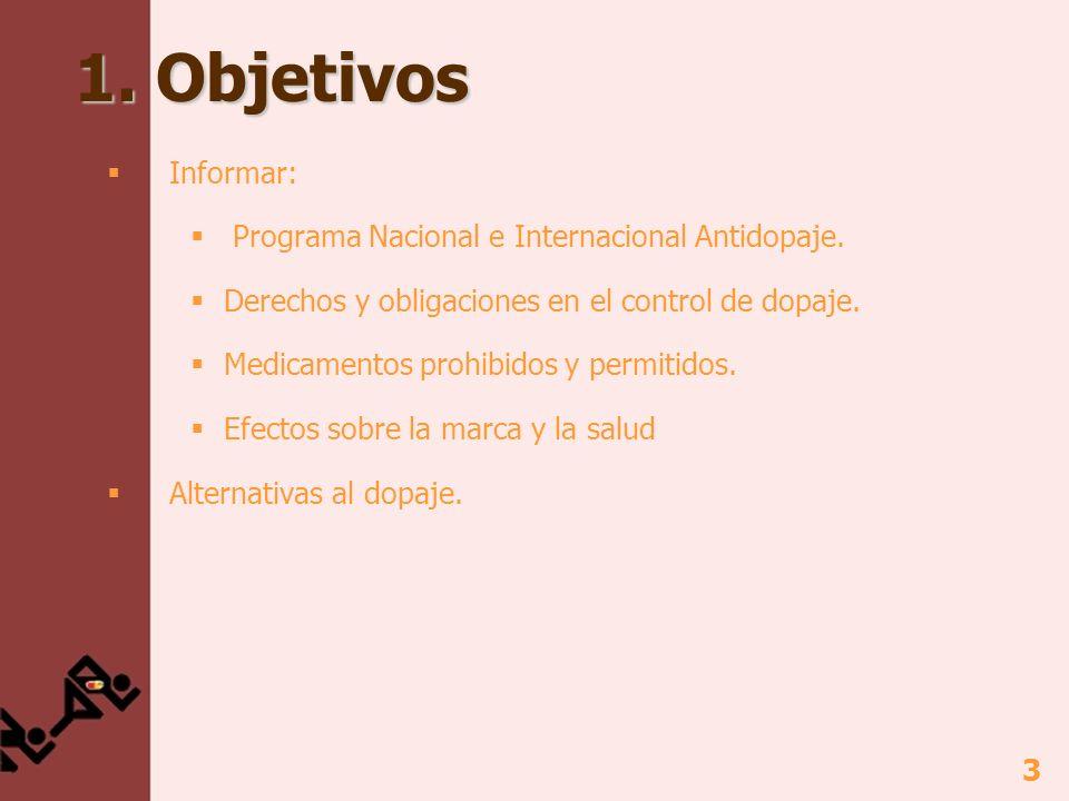 3 1.Objetivos Informar: Programa Nacional e Internacional Antidopaje.