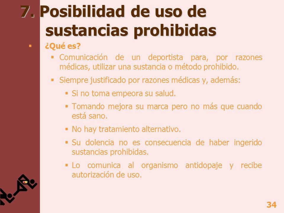 34 7. Posibilidad de uso de sustancias prohibidas ¿Qué es? Comunicación de un deportista para, por razones médicas, utilizar una sustancia o método pr