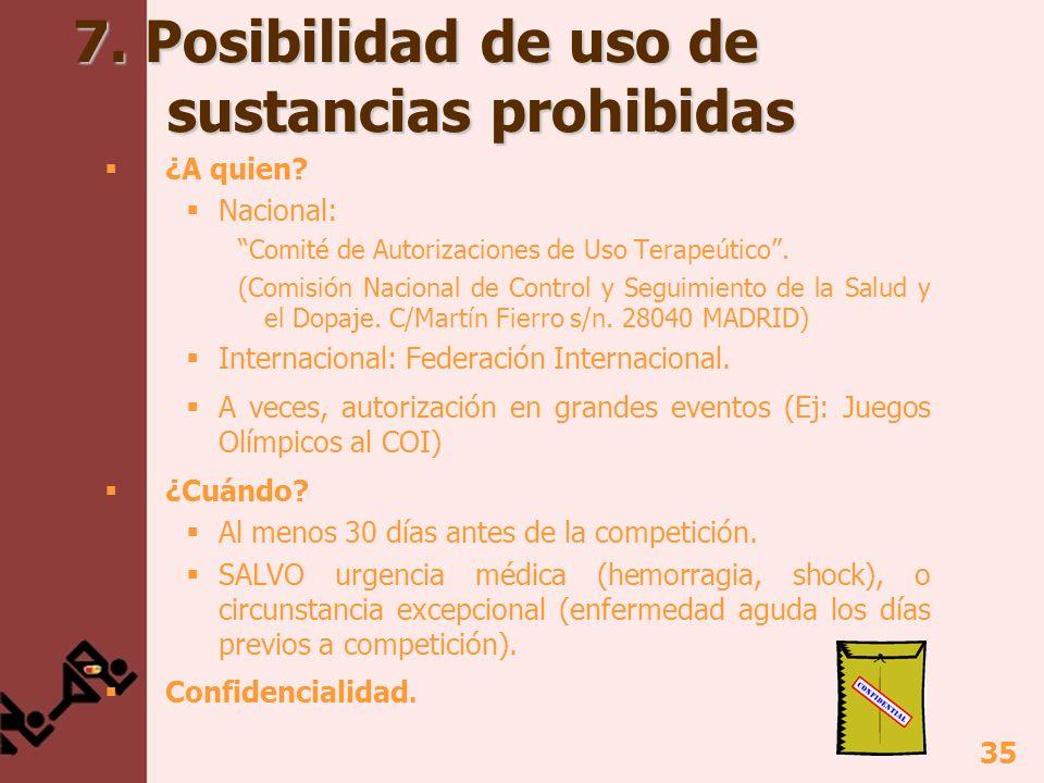 35 7. Posibilidad de uso de sustancias prohibidas ¿A quien? Nacional: Comité de Autorizaciones de Uso Terapeútico. (Comisión Nacional de Control y Seg