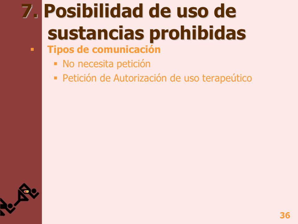 36 7. Posibilidad de uso de sustancias prohibidas Tipos de comunicación No necesita petición Petición de Autorización de uso terapeútico