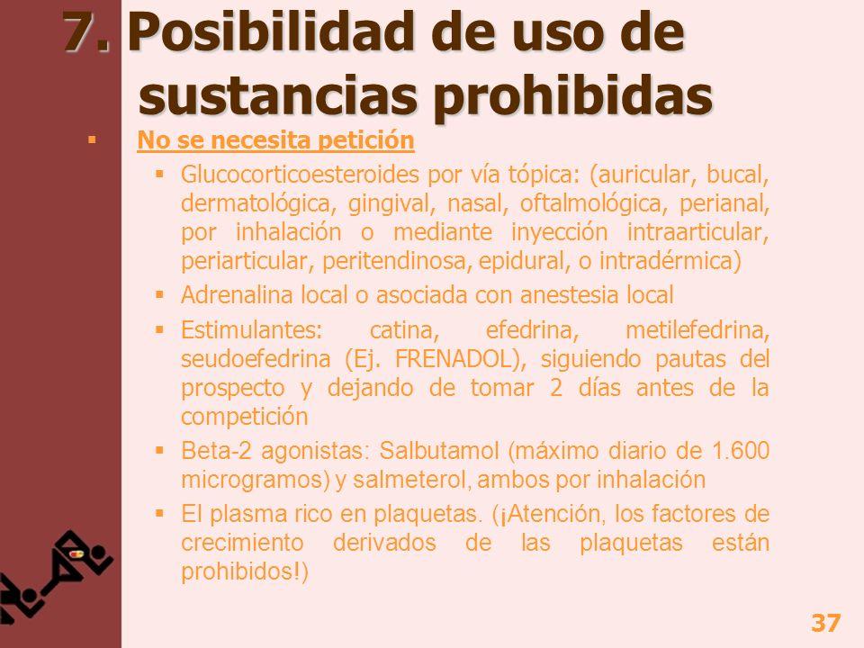 37 7. Posibilidad de uso de sustancias prohibidas No se necesita petición Glucocorticoesteroides por vía tópica: (auricular, bucal, dermatológica, gin