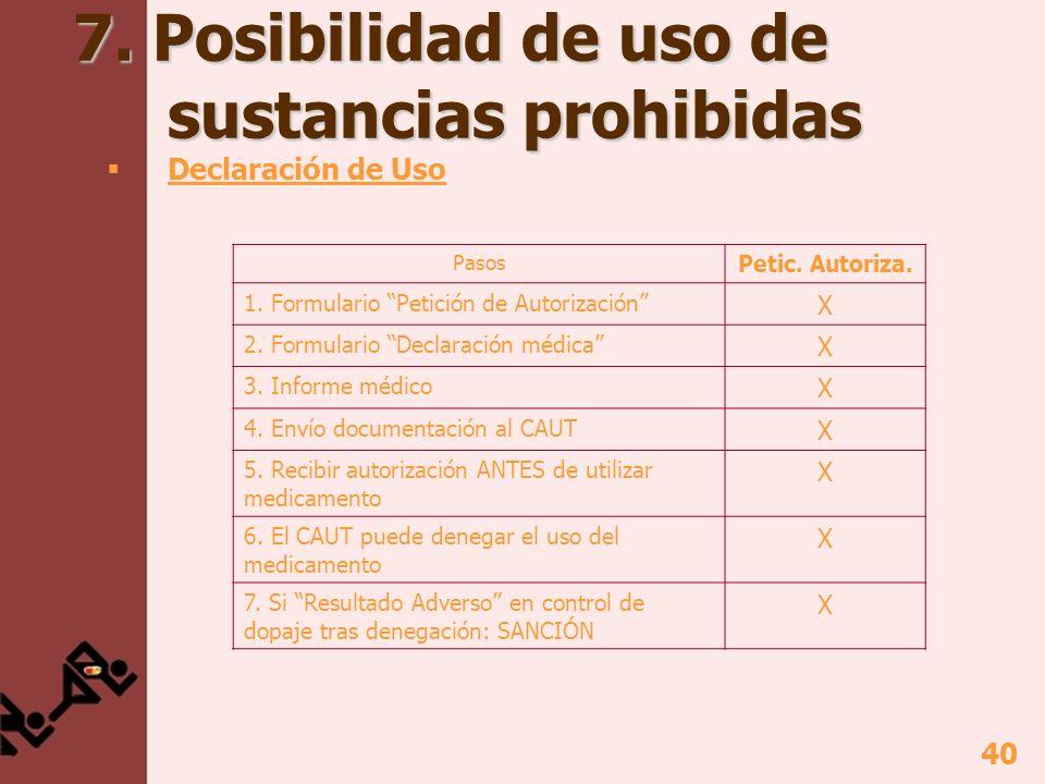 40 7. Posibilidad de uso de sustancias prohibidas Declaración de Uso Pasos Petic. Autoriza. 1. Formulario Petición de Autorización X 2. Formulario Dec