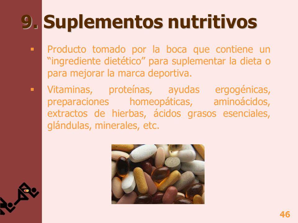 46 9. Suplementos nutritivos Producto tomado por la boca que contiene un ingrediente dietético para suplementar la dieta o para mejorar la marca depor
